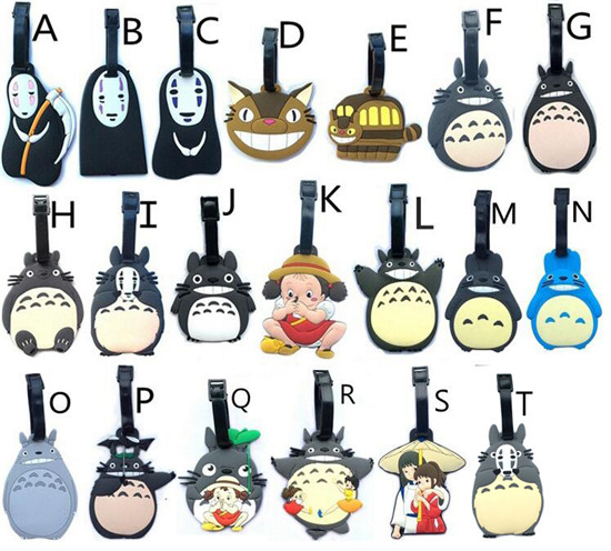 5 pcs/lot Miyazaki Hayao Anime figures luggage tag cartoon Totoro May Spirited Away ogino chihiro PVC bag pendants free shipping
