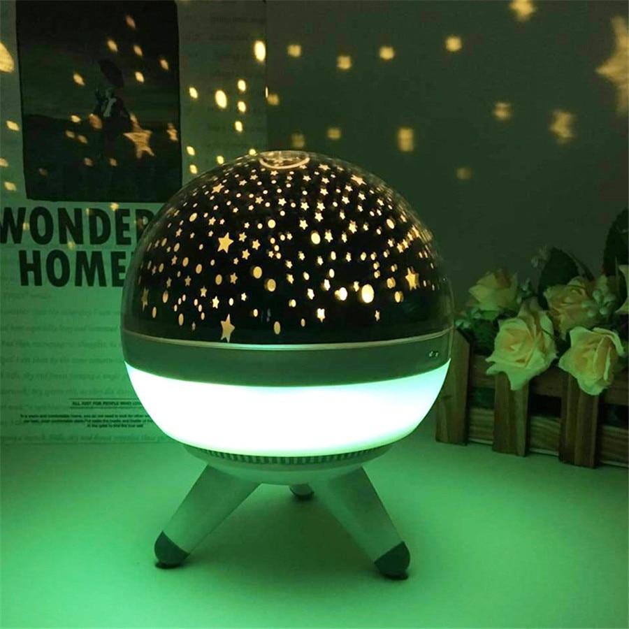 JUSONG Led Night Light Rotating Projector Spin Starry Sky Star Master Children Kids Baby Sleep Romantic Led USB Lamp Projector
