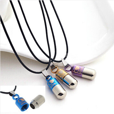 Unisex Stainless Steel Love Pill Capsule Tablet Medic Pendant Necklace Gifts New