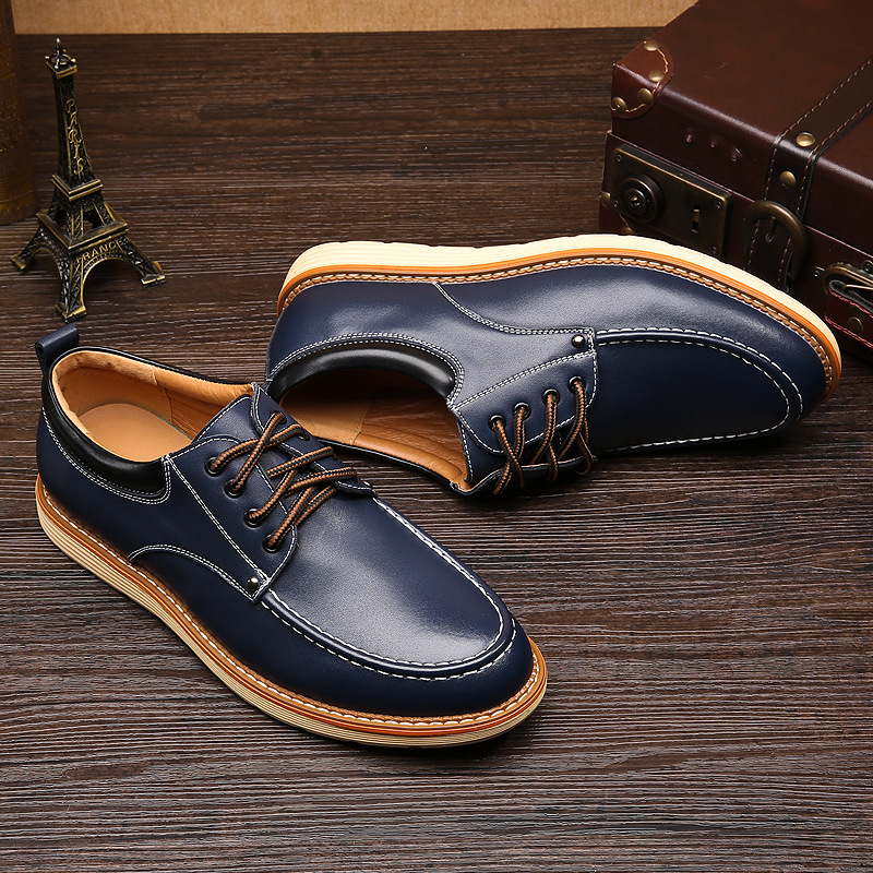 CHANGYUGE Spring Autumn Man Casual Shoes Lace Up Style Pu Leather Fashion Trend Flats Rubber Low heeled Men Business Shoe