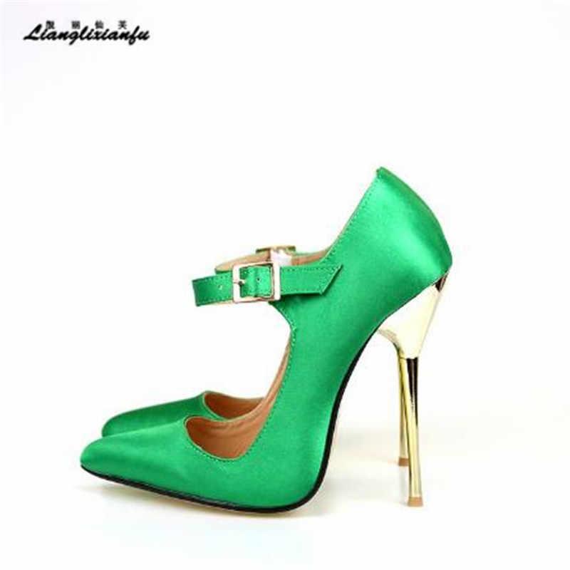 4a90eebf875 LLXF Plus 45 46 47 48 49 Stiletto Buckle RED Shoes Sexy 14cm Thin High