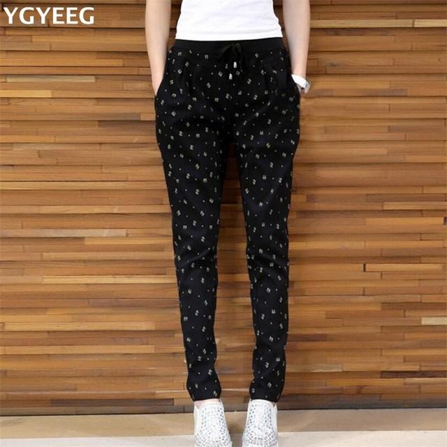 0c7376eadbea1 YGYEEG Spring Autumn Plus Size Pants For Women Fashion Casual Loose Tie  Elastic Waist Pencil Big