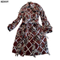 KENVY High end luxury Brand Fashion Women Embroidery Beads Feather Long sleeved Slim Long Windbreaker Trench coat