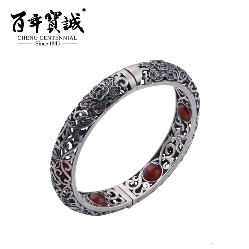 Cheng Centennial --Jewelry-Inlaid sardonyx-Sterling silver-Silver bracelet-Chinese style-Hollow out-Ajusted freely-For female simple style solid color hollow out bracelet for men