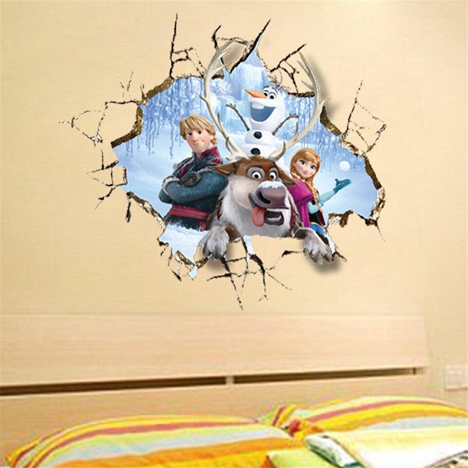 Princess Elsa Wall Stickers For Kids Girls Room Queen Snow Anna ...
