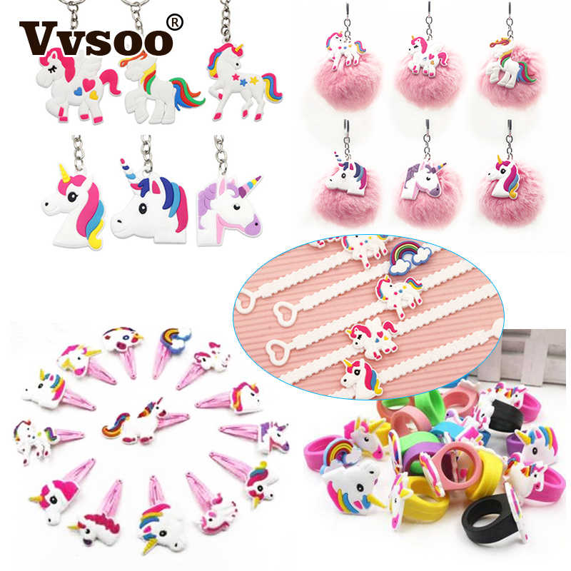 Vvsoo 12pcs Unicorn Party PVC Bracelet/Ring/Keychain/Hairclip Birthday Party Decorations Kid Favors Unicorn Decor Party Supplies
