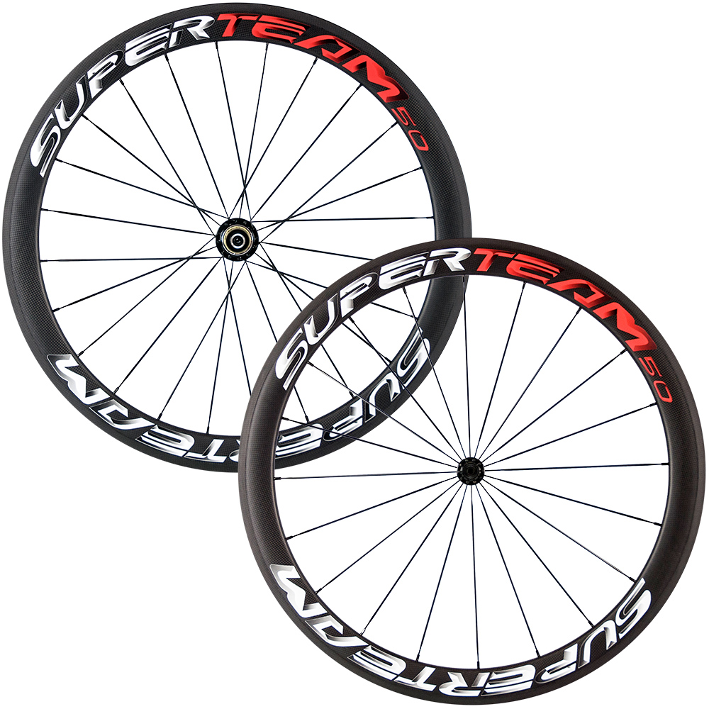 Newest Superteam carbon 50mm matte bicycle wheels 700C clincher wheelset with R13 Black hubNewest Superteam carbon 50mm matte bicycle wheels 700C clincher wheelset with R13 Black hub