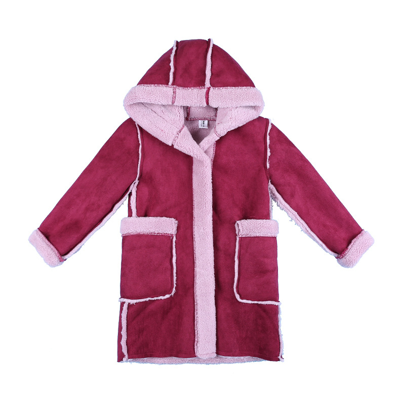 be59f6dfeed8 New Girls winter coats Suede fleece hooded kids jackets pink and red ...