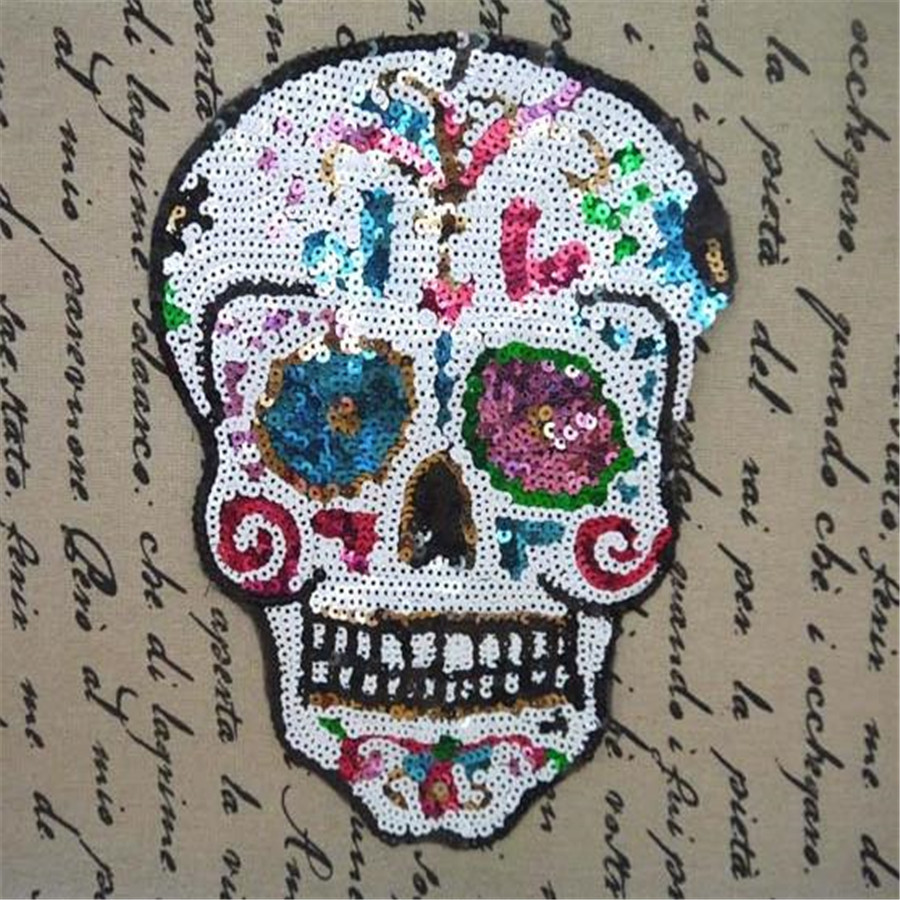 Skull embroidered iron on patches for clothes design