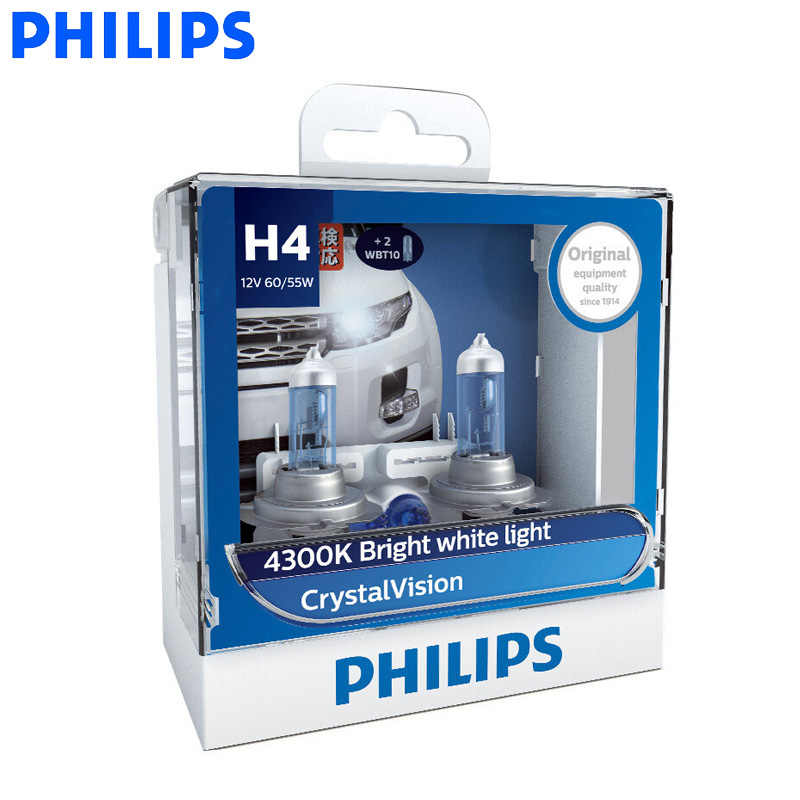 Philips H1 H4 H7 H11 9005 9006 12V Crystal Vision 4300K Bright White Light Halogen Auto Headlight Fog Lamps + 2x T10 Bulbs, Pair