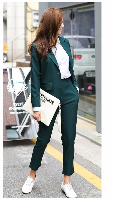 2018 spring summer Business Women 2 Piece interview suit set uniform Long-sleeved Blazer ...