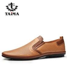 TAIMA Nueva temporada Diseño Color Negro Naranja Beige Colección Hombres de Los Holgazanes de Los Hombres Cómodos Zapatos de Los Planos #995301