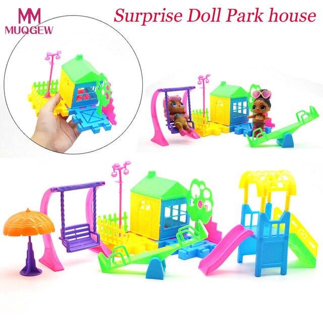 Chegada nova Engraçado Parque Casa de Jogo de Slides Playset Boneca de Brinquedo Brinquedo Do Bebê O Melhor Presente para LOL Surpresa As Crianças No Início Da Educação brinquedo engraçado
