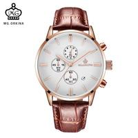 MG. ORKINA Men's Wristwatches Luxury Rose Gold Slim Case Quartz Analog Male Dress Watches Auto Date Chronograph Montre Homme