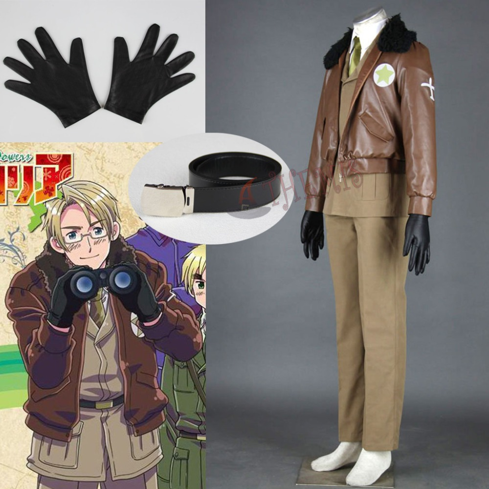 Athemis America Army Uniforms Axis Powers Hetalia/APH Cosplay Costumes Cool French Leather Coat USA Military Style Outfit