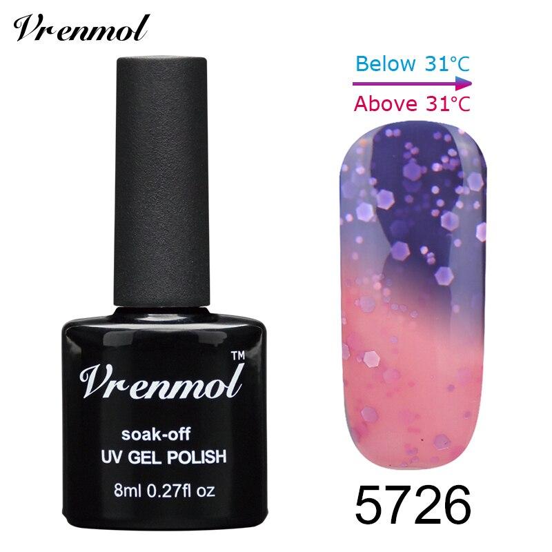 Vrenmol, 1 шт., меняющий цвет, замачиваемый УФ-гель, цвета, лак Verniz, Термальный, меняющий настроение, Гель-лак для ногтей - Цвет: 5726