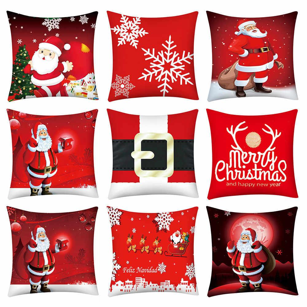 Natal Santa Claus Bantal Cover Dekoratif Bantal Cover untuk Sofa Kursi LEMBUT Sarung Bantal 45X45 Cm Dekorasi Rumah