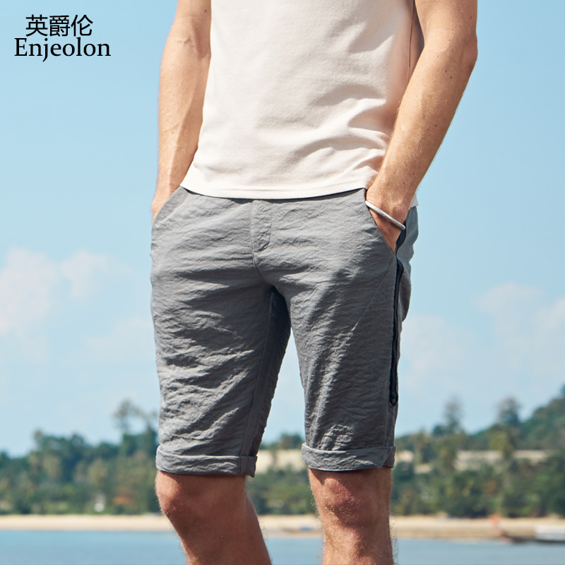 Enjeolon Top 2019 Summer Casual Shorts Men Sim Solid Shorts Base Army Green Shorts Available Knee Length High Quality KZ6170