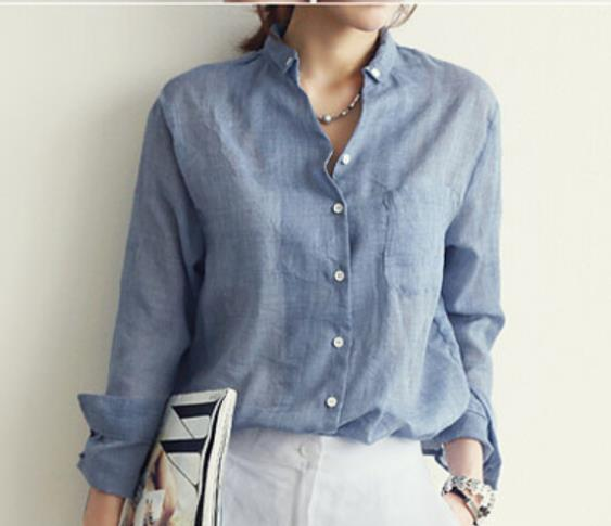 Women S Summer Autumn Blouses 2015 Cotton Linen Shirt Women Long