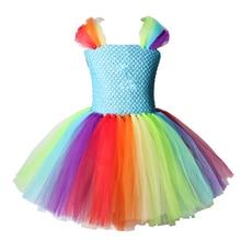 Платье-пачка в стиле маленькой лошади, Единорога; Радужное платье-пачка принцессы с героями мультфильмов для девочек; Детский костюм на Хэллоуин, день рождения, вечеринку