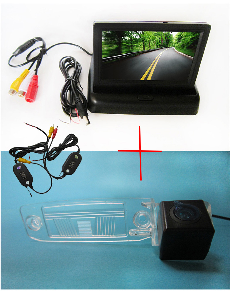 Wireless Color CCD Chip Car Chip Rear View Camera for KIA SPORTAGE R 2010-2014 + 4.3 Inch foldable LCD TFT Monitor wireless color ccd chip car rear view camera for kia sorento sportage 4 3 inch foldable lcd tft monitor