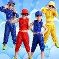 Boy Jazz Trajes de Baile de Jazz de Cabritos de La Muchacha de Baile Para Niñas Set Hip Hop Manga Larga Rendimiento Lentejuelas Jazz Disfraces Para Niños