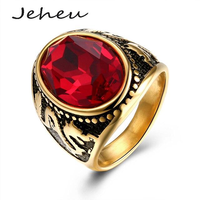 277402b5f6a1 Joyería de Los Hombres retros de Oro Anillo de Compromiso de Piedra Grande  de Color Rojo