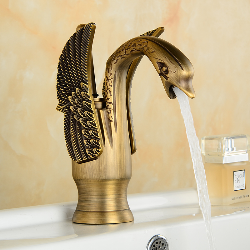 Basin Faucets New Design Swan Faucet Gold Plated Wash Basin Faucet Hotel Luxury Copper Gold Mixer Taps hot and cold Taps 85535K