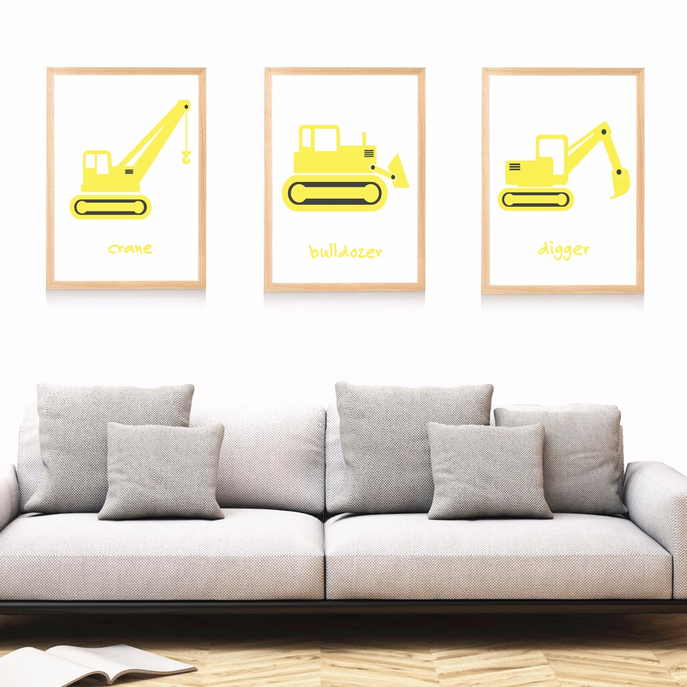 Construction nursery set canvas art print painting poster for Canvas painting for kids room