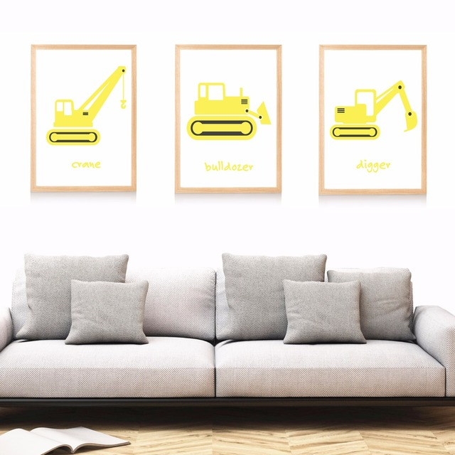 Construction Nursery Set Canvas Art Print Painting Poster Wall Pictures For Kids Room Home Decorative Bedroom