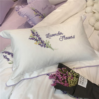 White cotton lavender embroidered noble Bedding sets king queen size luxury Bed set bed cover sheet set duvet cover Pillow 38