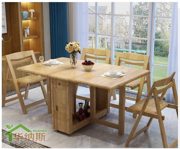 Table dining table home telescopic folding small apartment simple solid wood foot multi-purpose dining table and chair combinati