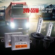 24 В грузовик фар Ксеноновые комплект 55 Вт H4 биксенон H7 H11 4300 К 5000 К 6000 К H1 8000 К супер яркий 24 В ван лодка лампы