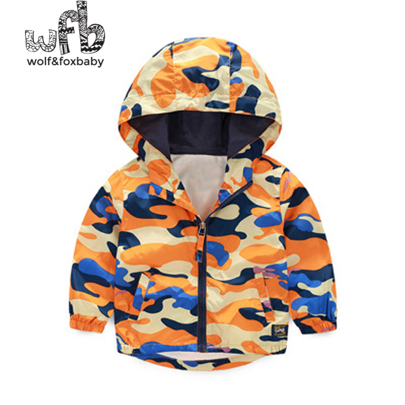 Retail 2-8 years coat long-sleeved camouflage windproof hooded coat boy spring fall autumn