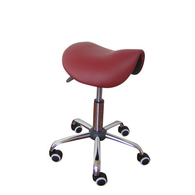 H Rolling Massage Chair Saddle Stool Leather Upholstery Portable Pedicure Salan Spa Tattoo Facial Beauty Massage Swivel Chair