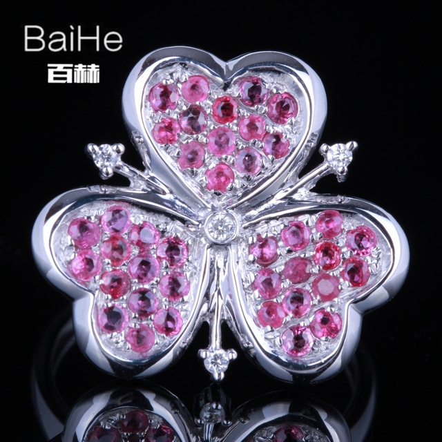 BAIHE Sterling Silver 925 1.1CT Certified H/SI3 Round Diamonds & Genuine Rubies Engagement Women Cute/Romantic Fine Jewelry Ring