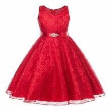 Высокое качество платье для девочек Новый год праздничное платье рождественское платье для девочки без рукавов Кружево принцессы 3-14yrs дамы Обувь для девочек одежда