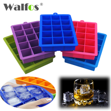 WALFOS 100% food grade silicone 1 PC Novelty 15 Square Soft Silicone Ice Cube Tray Ice Maker Jelly Pudding Mould ice mold