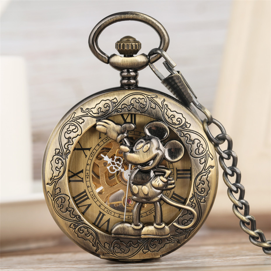 Bronze 3D Mickey Mouse Roman Numerals Display Mechanical Pocket Watch Vintage Skeleton Pendant Watch Hand Winding Souvenir Gifts