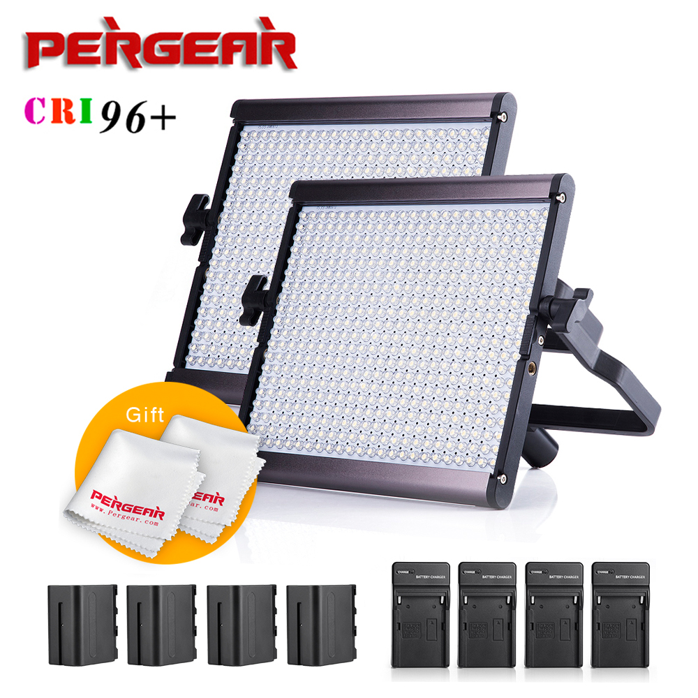 2 Sets Pergear Lightmate S 480 Led Video Light Panel Kit CRI 96+ 5500K Dimmeable Flat Panel Studio Light + Batteries + Chargers wanscam 1080p full hd wifi surveillance camera wireless security ip camera outdoor waterproof night vision support sd tf memory