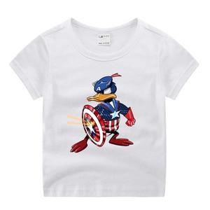Футболка для маленьких мальчиков и девочек в стиле «мстители», «Капитан Америка», футболка с забавным рисунком, детские летние топы с круглым вырезом, маленькая футболка
