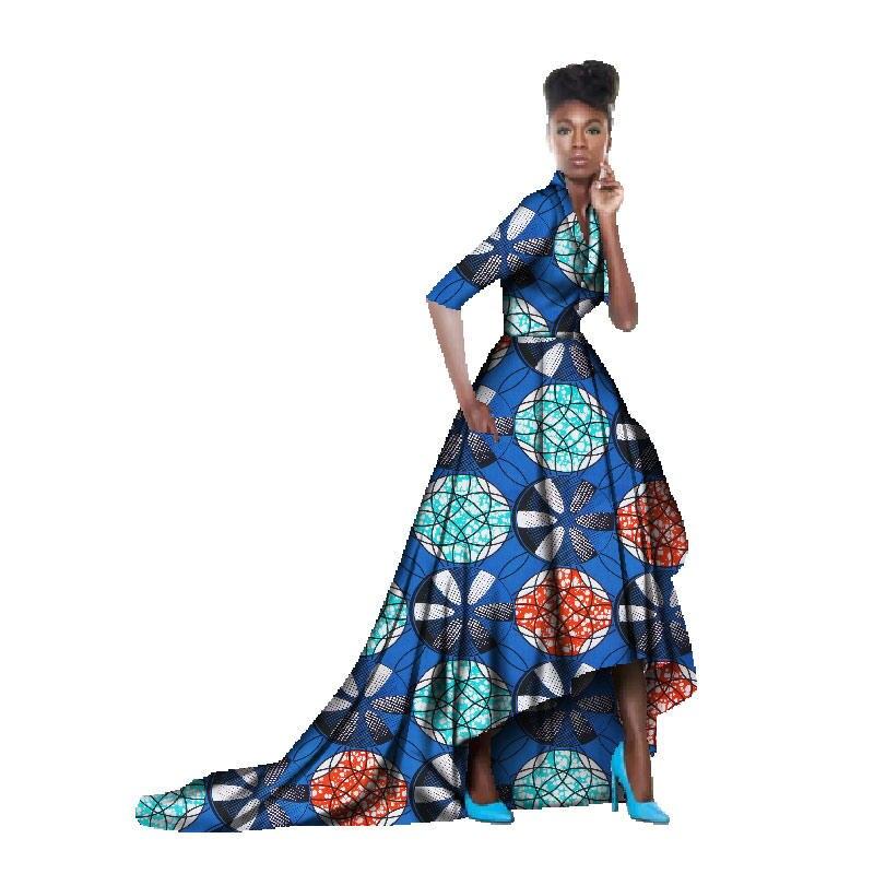 African Dresses For Women Batik Half Sleeve Elegant Ball Gown Floor