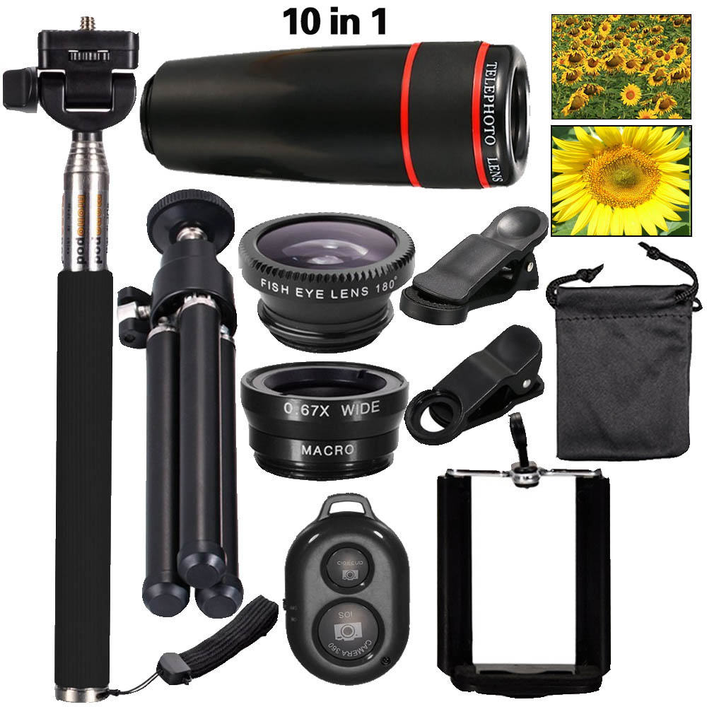 2016 Nouveau 10in1 Téléphone Camera Lens Kit 8x Téléobjectif + Large Angle + Macro + Fish Eye + Selfie Bâton Manfrotto + Mini Trépied