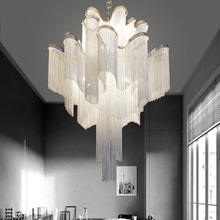 Post-modern Silver Art Chandelier Nordic Designer Engineering Luxury Chain Tassel Aluminum Hinging Lamp Lighting Luminaire