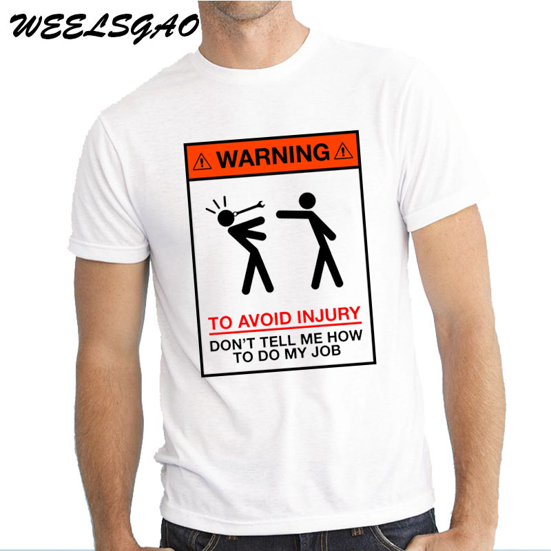 WEELSGAO Warning To Avoid Injury Mens Funny Builder Mechanic Engineer   T     Shirt   Dad Gift Summer Personality Fashion Men   T  -  Shirt