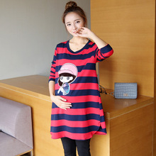 Spring Maternity Tops T Shirt for Pregnant Women Clothes Casual Loose Print Tee Top Maternity Dress
