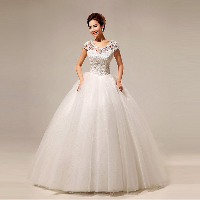 2015 elegant new lace princess bride wedding dress luxury for Elegant ball gown wedding dresses