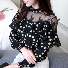 цены 2019 Autumn black lace hollow out blouse shirt Hollow out mesh transparent blouse blusas Women long sleeve blouse tops 801B