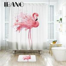 IBANO занавеска для душа с фламинго, водостойкая полиэфирная ткань, занавеска для ванной комнаты с 12 пластиковыми крючками, напольный коврик