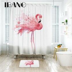 IBANO Flamingo Dusche Vorhang Wasserdichte Polyester Gewebe Bad Vorhang Für Das Bad Mit 12 stücke Kunststoff Haken Boden Matte